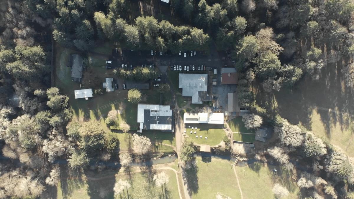 campus drone shot